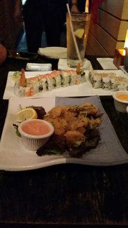 Doraku Sushi: Firecracker shrimp, shrimp tempura roll, krispy krab roll.