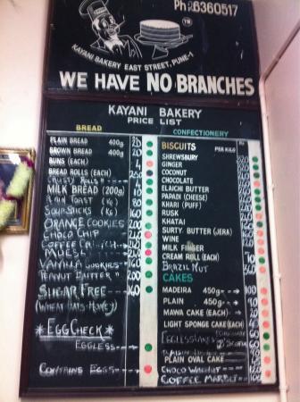 Kayani Bakery: Price list