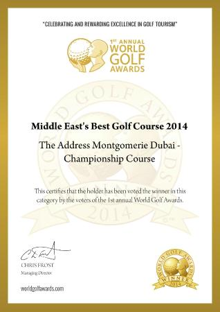 Address Montgomerie: Middle East Best Golf Course Award