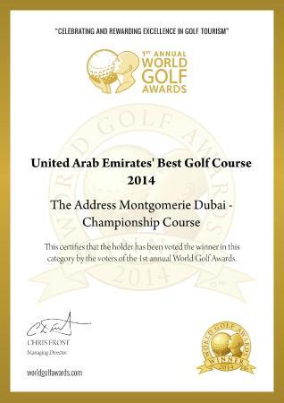 Address Montgomerie: UAE Best Golf Course Award