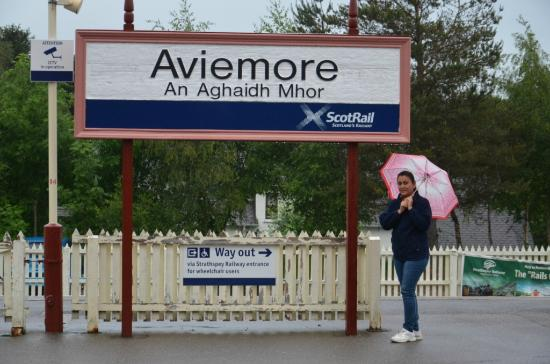 Strathspey Hotel: My wife at the train station that is within walking distance of the hotel.