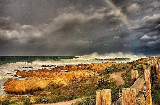Asilomar State Beach, the path, rainbow, storm comin'