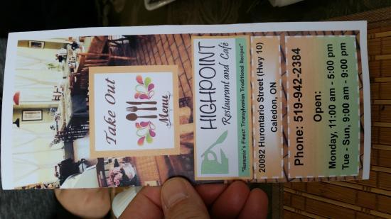 Highpoint Cafe & Restaurant: Menu