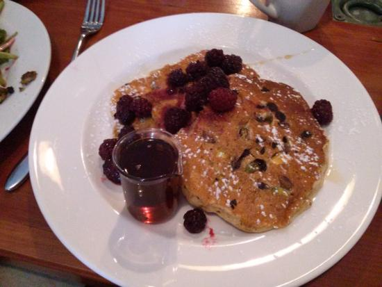 Pistachio and chocolate chip pancakes