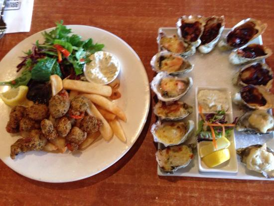Hotel Bruny Bistro: Fresh scallops and oysters 4 ways Bruny island hotel