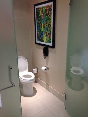 MGM Grand Detroit : Private toilet area.  Nice to be able to have more than one person in the bathroom without compr