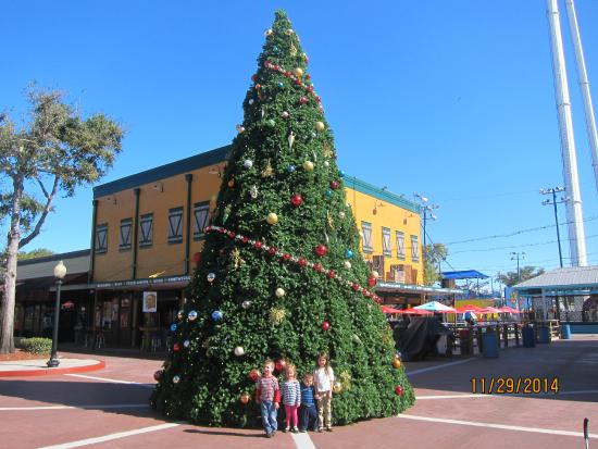 old town my kids in front of a big christmas tree - Big Christmas Trees