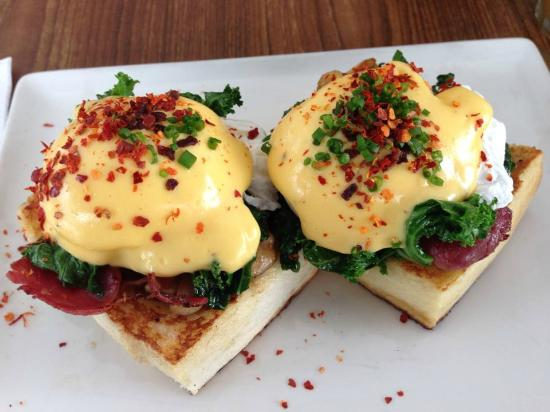 The Red Beanbag Egg Benedict