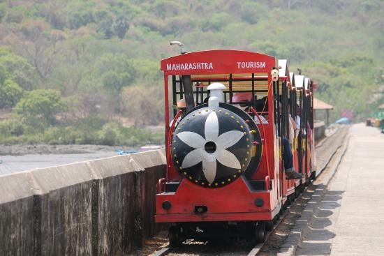 The toy train on its way to Elephanta caves.