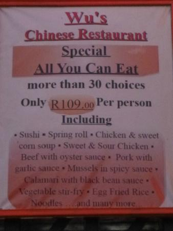 Wu's Chinese Restaurant and Sushi Express: The all you can eat special