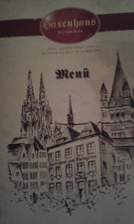 Haxenhaus zum Rheingarten : Haxenhaus Menu