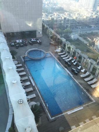 Swimming pool view from my room picture of radisson blu - Swimming pool in vaishali ghaziabad ...