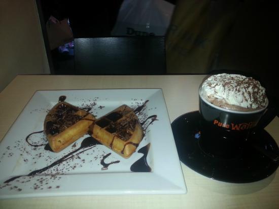 Pure Waffle: Chocolate Waffle with Hot Chocolate and Cream