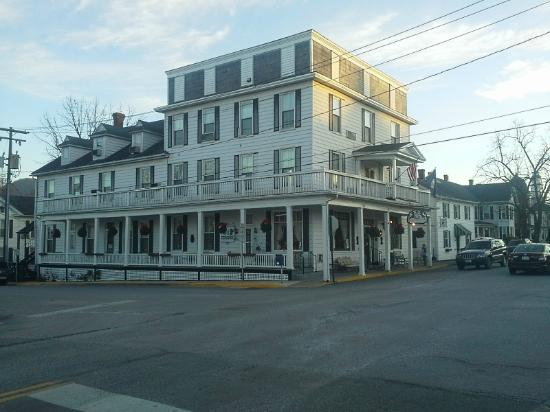 Exterior view of the Hotel Strasburg in Sterasburg, Virginia..