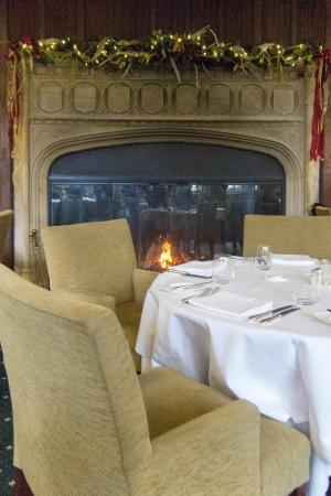 Restaurant At Rushton Hall Hotel: Dining Room Fireplace