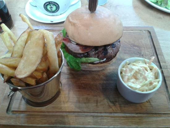 Yummy Yorkshire: Brie and bacon burger with skin on fries. Brill.