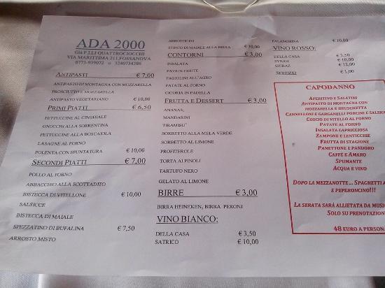 Priverno, Italien: menu