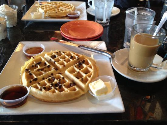Prosecco Cafe: Chocolate Chip Waffle and Coffee