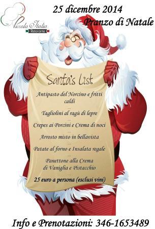 25 Natale.Foto De Ristorante Piccola Italia Aprilia Il Nostro Menu Per Il Pranzo Del 25 Dicembre Buon Natale E Buon Appetito Anna Tripadvisor