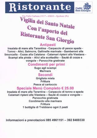 Ristorante Caffe San Giorgio: Lista cena asporto Vigilia Natale 2014