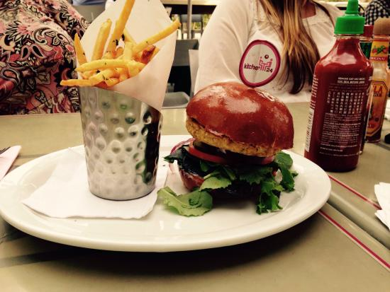 Veggie Burger and Fries at Kitchen 24 West Hollywood - Picture of ...