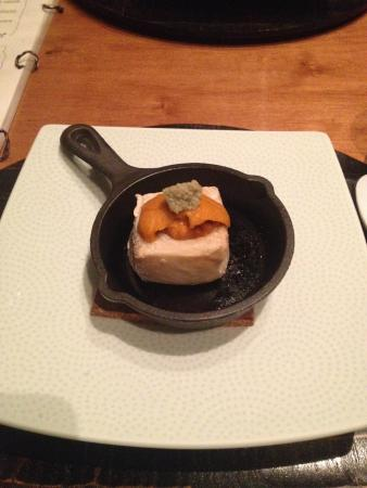 "Wakuriya: homemade ""yaki goma-dofu"" (oven-grilled sesame tofu) with uni on tiny iron pan"