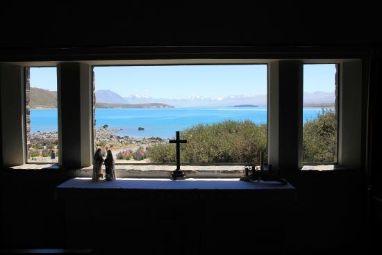 Church of the Good Shepherd: The altar ovelooking the lake from inside the church