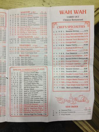 Wah Wah Chinese Restaurant Menu Richmond Va