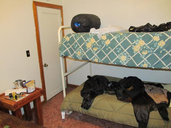Ukiah, OR: Wet leathers drying out on the bunk beds