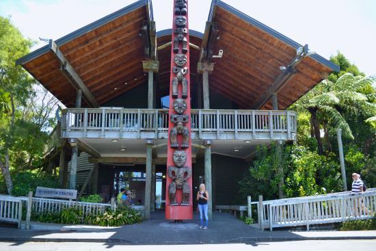 The entrance to Arataki visitor centre.