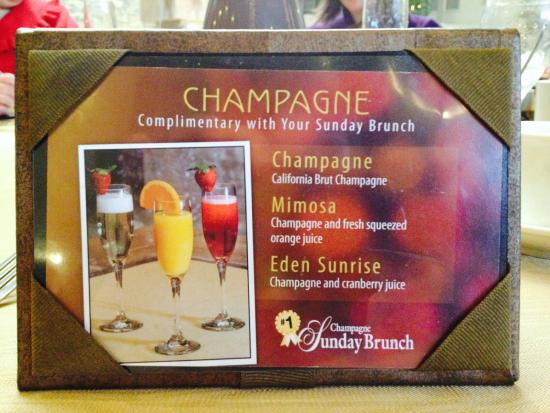 Champagne Sunday Brunch: Complimentary Drink Choices