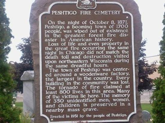 Mass Grave Marker at Peshtigo Cemetery