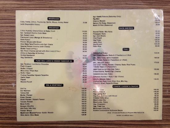 Bharawan Da Dhaba: English menu, as of December 2014