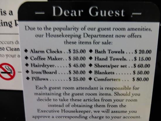 Lithia Springs, GA: Guest Room Amenities Price List