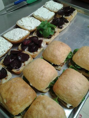 Nori's Village Market : Roasted Beet and Feta Sandwiches in the making!