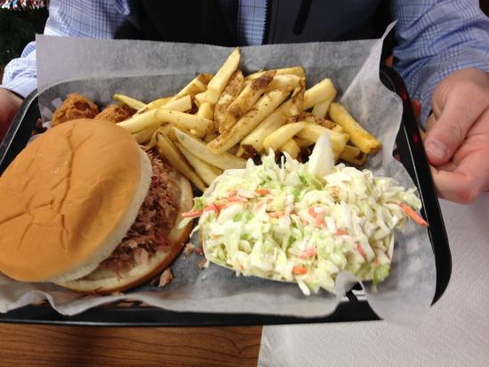 Due South Pit Cooked BBQ: Minced BBQ, Cole Slaw, Fries