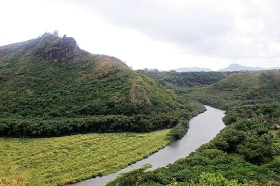 View from the highway bridge in Wailua river.