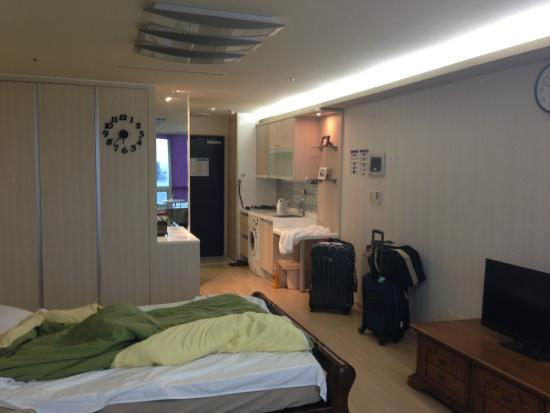 Prime Guesthouse: The empty kitchen and fridge hidden in one of the cupboards