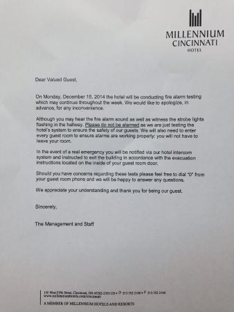 Notice about the fire alarm testing picture of millennium millennium cincinnati notice about the fire alarm testing thecheapjerseys Image collections