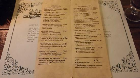 Osteria Da Claudio: Menu card.