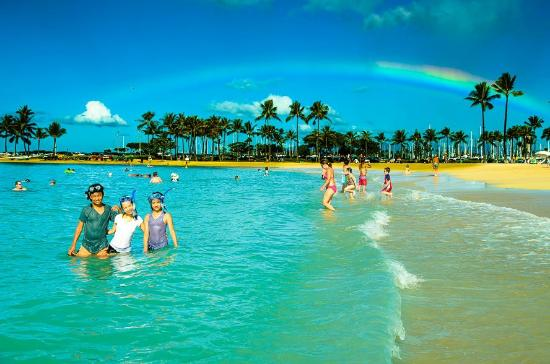 Hilton Hawaiian Village Waikiki Beach Resort Rainbow In Front Of The Tower