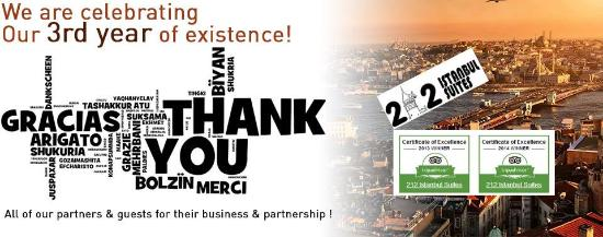 We are celebrating our 3rd year of existence! 212 Istanbul Suites is celebrating its third anniv