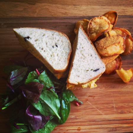 The Bell Inn: Coronation Chicken Sandwich on homebaked bread with homemade crisps & salad leaves...
