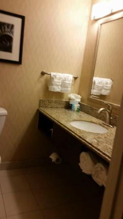 Crowne Plaza Boston Woburn: Bathroom counter and sink