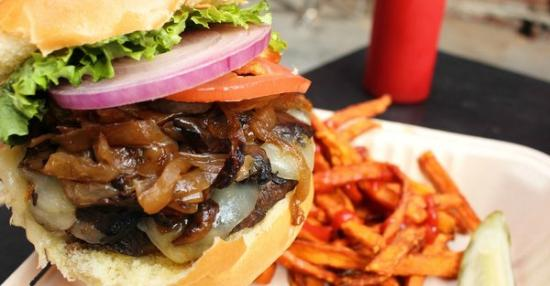Burger Burger: Burger with sauteed onions, swiss, and mushrooms
