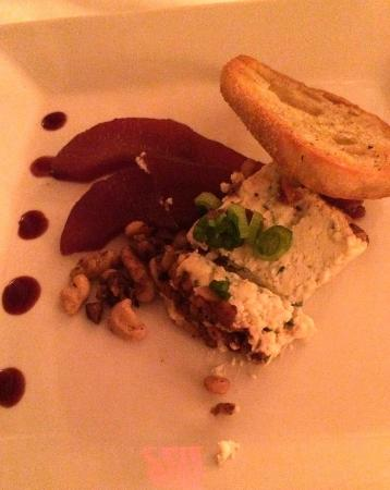 Sugar Hill Inn: Blue Cheese and Walnut Terrine with Spiced Red Wine Poached Bosc Pears