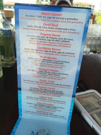 Excellence Playa Mujeres Drink Menu