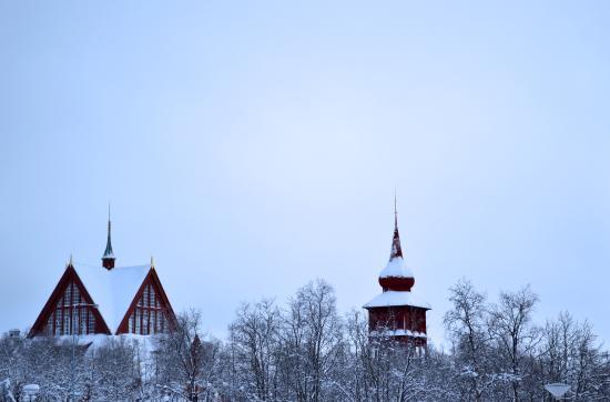 Kiruna Kyrka: Church of Kiruna with its clock tower.