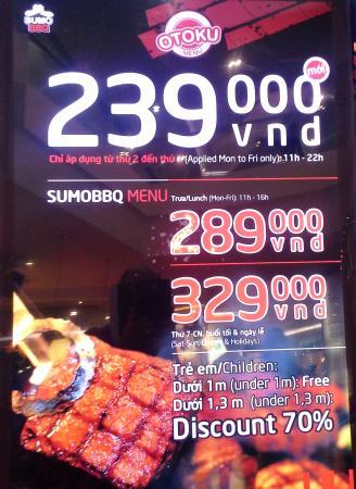 Sumo BBQ: billboarding showing the price