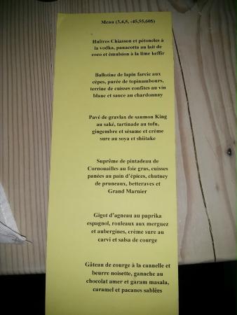 Chez Saint-Pierre : Menu